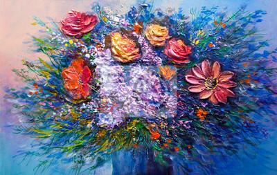 Постер Цветы в современной живописи Картина маслом цветыЦветы в современной живописи<br>Постер на холсте или бумаге. Любого нужного вам размера. В раме или без. Подвес в комплекте. Трехслойная надежная упаковка. Доставим в любую точку России. Вам осталось только повесить картину на стену!<br>