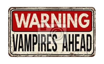 Постер-картина Смешные таблички Предупреждение вампиров впереди старинные металлический знакСмешные таблички<br>Постер на холсте или бумаге. Любого нужного вам размера. В раме или без. Подвес в комплекте. Трехслойная надежная упаковка. Доставим в любую точку России. Вам осталось только повесить картину на стену!<br>