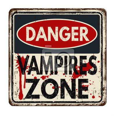 Постер-картина Смешные таблички Опасную зону вампиры старинные металлический знакСмешные таблички<br>Постер на холсте или бумаге. Любого нужного вам размера. В раме или без. Подвес в комплекте. Трехслойная надежная упаковка. Доставим в любую точку России. Вам осталось только повесить картину на стену!<br>