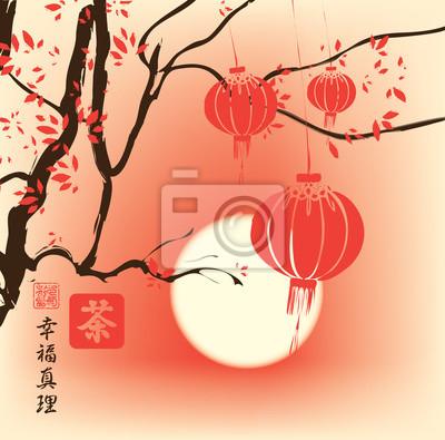Постер-картина Иероглифы Осенний пейзаж в стиле китайской акварельной живописи с ветки дерева и бумажных фонариков на фоне солнца. Иероглифы Чай, Счастье, ПравдаИероглифы<br>Постер на холсте или бумаге. Любого нужного вам размера. В раме или без. Подвес в комплекте. Трехслойная надежная упаковка. Доставим в любую точку России. Вам осталось только повесить картину на стену!<br>