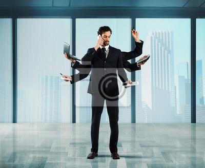 Многозадачность бизнесмен, 24x20 см, на бумагеБизнес<br>Постер на холсте или бумаге. Любого нужного вам размера. В раме или без. Подвес в комплекте. Трехслойная надежная упаковка. Доставим в любую точку России. Вам осталось только повесить картину на стену!<br>