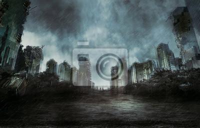 Постер Дождь Дождь в разрушенном городеДождь<br>Постер на холсте или бумаге. Любого нужного вам размера. В раме или без. Подвес в комплекте. Трехслойная надежная упаковка. Доставим в любую точку России. Вам осталось только повесить картину на стену!<br>
