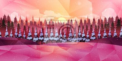 Постер-картина Полигональный арт Зимний лес, векторные иллюстрации низкий стиль полиПолигональный арт<br>Постер на холсте или бумаге. Любого нужного вам размера. В раме или без. Подвес в комплекте. Трехслойная надежная упаковка. Доставим в любую точку России. Вам осталось только повесить картину на стену!<br>