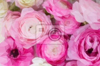 Постер-картина Полигональный арт Низко полигональная иллюстрация розовый и белый Лютик цветы крупным планом фонПолигональный арт<br>Постер на холсте или бумаге. Любого нужного вам размера. В раме или без. Подвес в комплекте. Трехслойная надежная упаковка. Доставим в любую точку России. Вам осталось только повесить картину на стену!<br>