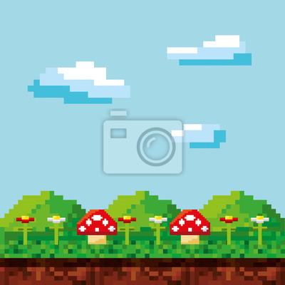 Постер-картина Пиксель-арт Игровой сцены неровной фон векторные иллюстрации дизайнПиксель-арт<br>Постер на холсте или бумаге. Любого нужного вам размера. В раме или без. Подвес в комплекте. Трехслойная надежная упаковка. Доставим в любую точку России. Вам осталось только повесить картину на стену!<br>