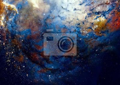 Постер Ночь Космическое пространство и звезды, цвета космического абстрактного фона.Ночь<br>Постер на холсте или бумаге. Любого нужного вам размера. В раме или без. Подвес в комплекте. Трехслойная надежная упаковка. Доставим в любую точку России. Вам осталось только повесить картину на стену!<br>