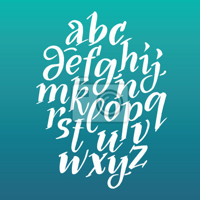 Дерзкий шрифт каллиграфия. Вектор алфавит. Рука нарисованные буквы. Буквы алфавита, написанные с помощью кисти., 20x20 см, на бумагеАлфавит<br>Постер на холсте или бумаге. Любого нужного вам размера. В раме или без. Подвес в комплекте. Трехслойная надежная упаковка. Доставим в любую точку России. Вам осталось только повесить картину на стену!<br>