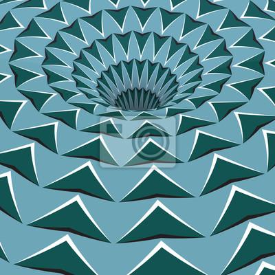 Постер-картина Оптическое искусство Зеленые стрелки отверстие. Оптическая иллюзия движения иллюстрации.Оптическое искусство<br>Постер на холсте или бумаге. Любого нужного вам размера. В раме или без. Подвес в комплекте. Трехслойная надежная упаковка. Доставим в любую точку России. Вам осталось только повесить картину на стену!<br>