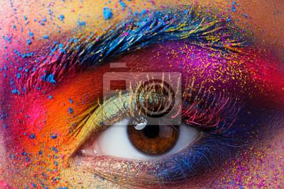 Постер-картина Фото-постеры Крупным планом женский глаз с яркими разноцветными мода Мак, 30x20 см, на бумагеГлаза<br>Постер на холсте или бумаге. Любого нужного вам размера. В раме или без. Подвес в комплекте. Трехслойная надежная упаковка. Доставим в любую точку России. Вам осталось только повесить картину на стену!<br>