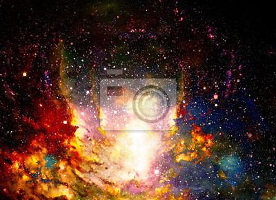 Постер Ночь Космическое пространство и звезды, цвета космического абстрактного фона. Эффект огня в космосе.Ночь<br>Постер на холсте или бумаге. Любого нужного вам размера. В раме или без. Подвес в комплекте. Трехслойная надежная упаковка. Доставим в любую точку России. Вам осталось только повесить картину на стену!<br>