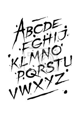 Постер-картина Фото-постеры Рука нарисованные шрифт чернилами. Редактируемые векторные алфавит, 20x29 см, на бумагеАлфавит<br>Постер на холсте или бумаге. Любого нужного вам размера. В раме или без. Подвес в комплекте. Трехслойная надежная упаковка. Доставим в любую точку России. Вам осталось только повесить картину на стену!<br>