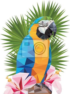 Постер-картина Полигональный арт Вектор тропических треугольные попугай Ара с гибискусомПолигональный арт<br>Постер на холсте или бумаге. Любого нужного вам размера. В раме или без. Подвес в комплекте. Трехслойная надежная упаковка. Доставим в любую точку России. Вам осталось только повесить картину на стену!<br>