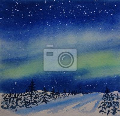 Постер Ночь Полярное сияние ночью и снег покрыл лес акварельной живописи Ночь<br>Постер на холсте или бумаге. Любого нужного вам размера. В раме или без. Подвес в комплекте. Трехслойная надежная упаковка. Доставим в любую точку России. Вам осталось только повесить картину на стену!<br>