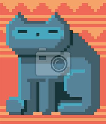 Постер-картина Пиксель-арт Пиксель арт кота. Векторные иллюстрации. Понятие 8бит частиц. Старый Тип видеоигр. Ретро дизайнПиксель-арт<br>Постер на холсте или бумаге. Любого нужного вам размера. В раме или без. Подвес в комплекте. Трехслойная надежная упаковка. Доставим в любую точку России. Вам осталось только повесить картину на стену!<br>