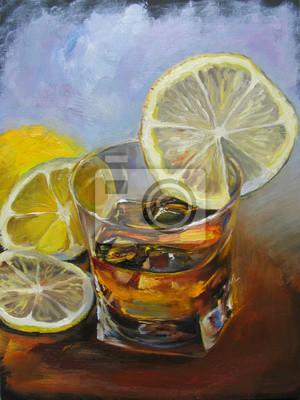 Искусство, картина Виски в стакане со льдом и лимоном. Картина маслом на холсте, иллюстрации, разноцветные синий и коричневый фон., 20x27 см, на бумагеНатюрморт в современной живописи<br>Постер на холсте или бумаге. Любого нужного вам размера. В раме или без. Подвес в комплекте. Трехслойная надежная упаковка. Доставим в любую точку России. Вам осталось только повесить картину на стену!<br>