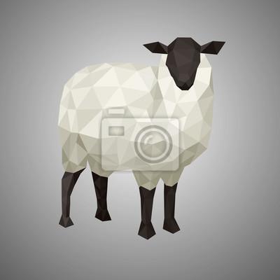 Постер-картина Полигональный арт Низкополигональная овец. Векторные иллюстрации в стиле многоугольной. Лесных животных на сером фоне.Полигональный арт<br>Постер на холсте или бумаге. Любого нужного вам размера. В раме или без. Подвес в комплекте. Трехслойная надежная упаковка. Доставим в любую точку России. Вам осталось только повесить картину на стену!<br>