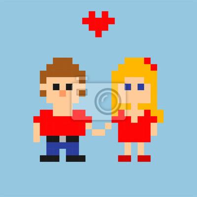 Постер-картина Пиксель-арт Пиксель-арт. Молодая влюбленная пара в стиле 8-битных игр. Векторные иллюстрацииПиксель-арт<br>Постер на холсте или бумаге. Любого нужного вам размера. В раме или без. Подвес в комплекте. Трехслойная надежная упаковка. Доставим в любую точку России. Вам осталось только повесить картину на стену!<br>