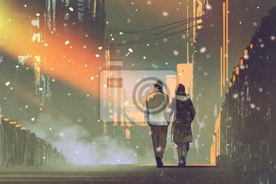 Пара в любви, прогулки по улице города,живопись, иллюстрация, 30x20 см, на бумагеРомантика в современной живописи<br>Постер на холсте или бумаге. Любого нужного вам размера. В раме или без. Подвес в комплекте. Трехслойная надежная упаковка. Доставим в любую точку России. Вам осталось только повесить картину на стену!<br>