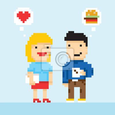 Постер-картина Пиксель-арт Пиксель арт игры офисный стиль коллегами в любовь вектораПиксель-арт<br>Постер на холсте или бумаге. Любого нужного вам размера. В раме или без. Подвес в комплекте. Трехслойная надежная упаковка. Доставим в любую точку России. Вам осталось только повесить картину на стену!<br>