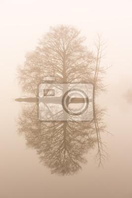 Постер Туман Маленький остров в тумане на водеТуман<br>Постер на холсте или бумаге. Любого нужного вам размера. В раме или без. Подвес в комплекте. Трехслойная надежная упаковка. Доставим в любую точку России. Вам осталось только повесить картину на стену!<br>