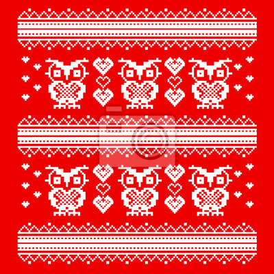 Постер-картина Пиксель-арт Орнамент красный сова и сердце. мудрые совы в любви. шаблон пиксель артПиксель-арт<br>Постер на холсте или бумаге. Любого нужного вам размера. В раме или без. Подвес в комплекте. Трехслойная надежная упаковка. Доставим в любую точку России. Вам осталось только повесить картину на стену!<br>