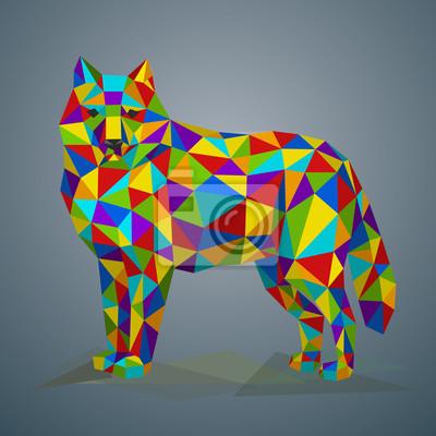 Постер-картина Полигональный арт Красочные низкополигональных волк. иллюстрации в стиле многоугольной. Красивое лесное животное на сером фоне.Полигональный арт<br>Постер на холсте или бумаге. Любого нужного вам размера. В раме или без. Подвес в комплекте. Трехслойная надежная упаковка. Доставим в любую точку России. Вам осталось только повесить картину на стену!<br>