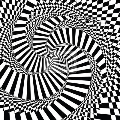 Постер-картина Оптическое искусство Векторные иллюстрации пестрые визуальные и оптические иллюзии в форме звезды черный белый, скрученной по спиралиОптическое искусство<br>Постер на холсте или бумаге. Любого нужного вам размера. В раме или без. Подвес в комплекте. Трехслойная надежная упаковка. Доставим в любую точку России. Вам осталось только повесить картину на стену!<br>
