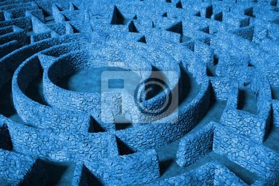 Постер-картина Лабиринт Огромный круговой лабиринт с твердыми стенками (синий 3D иллюстрация)Лабиринт<br>Постер на холсте или бумаге. Любого нужного вам размера. В раме или без. Подвес в комплекте. Трехслойная надежная упаковка. Доставим в любую точку России. Вам осталось только повесить картину на стену!<br>