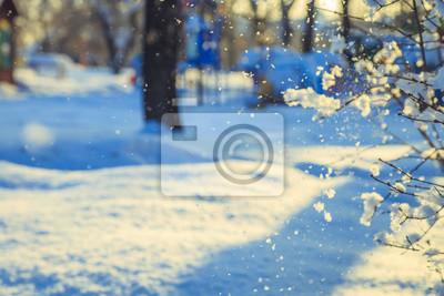 Постер Утро Снегопад в городе в парке утромУтро<br>Постер на холсте или бумаге. Любого нужного вам размера. В раме или без. Подвес в комплекте. Трехслойная надежная упаковка. Доставим в любую точку России. Вам осталось только повесить картину на стену!<br>