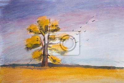 Постер Утро Красивый осенний пейзаж с изображением поля и деревья.Утро<br>Постер на холсте или бумаге. Любого нужного вам размера. В раме или без. Подвес в комплекте. Трехслойная надежная упаковка. Доставим в любую точку России. Вам осталось только повесить картину на стену!<br>