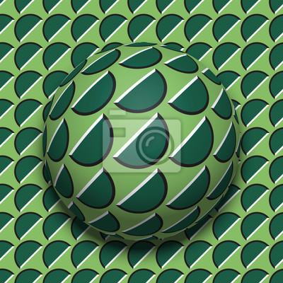 Постер-картина Оптическое искусство Рифленый шарик катится по одной и той же поверхности. Абстрактные векторные оптические иллюзии иллюстрации. Движение фона и плитки бесшовные обои.Оптическое искусство<br>Постер на холсте или бумаге. Любого нужного вам размера. В раме или без. Подвес в комплекте. Трехслойная надежная упаковка. Доставим в любую точку России. Вам осталось только повесить картину на стену!<br>