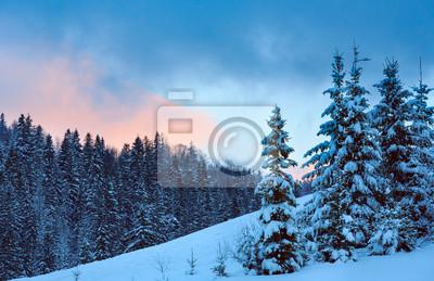 Постер Вечер Закат зима пейзаж украинских Карпат.Вечер<br>Постер на холсте или бумаге. Любого нужного вам размера. В раме или без. Подвес в комплекте. Трехслойная надежная упаковка. Доставим в любую точку России. Вам осталось только повесить картину на стену!<br>