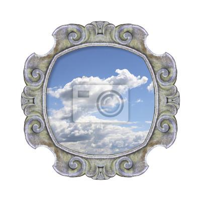 Постер-картина На потолок Старый резной каменный каркас с неба в середине на белом фонеНа потолок<br>Постер на холсте или бумаге. Любого нужного вам размера. В раме или без. Подвес в комплекте. Трехслойная надежная упаковка. Доставим в любую точку России. Вам осталось только повесить картину на стену!<br>