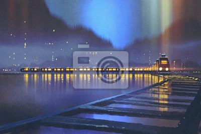Постер Ночь Ночная сцена в поезде с горящими света, проходящего через выше долины реки,живопись, иллюстрацияНочь<br>Постер на холсте или бумаге. Любого нужного вам размера. В раме или без. Подвес в комплекте. Трехслойная надежная упаковка. Доставим в любую точку России. Вам осталось только повесить картину на стену!<br>
