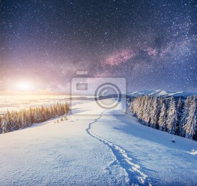 Постер Ночь Звездное небо в зимнюю снежную ночь. фантастический Млечный путьНочь<br>Постер на холсте или бумаге. Любого нужного вам размера. В раме или без. Подвес в комплекте. Трехслойная надежная упаковка. Доставим в любую точку России. Вам осталось только повесить картину на стену!<br>