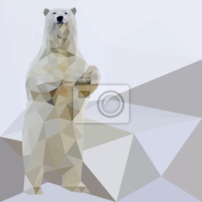 Постер-картина Полигональный арт Вектор белый медведь стилизованные треугольник полигональные модели. Низкополигональная дизайн.Полигональный арт<br>Постер на холсте или бумаге. Любого нужного вам размера. В раме или без. Подвес в комплекте. Трехслойная надежная упаковка. Доставим в любую точку России. Вам осталось только повесить картину на стену!<br>