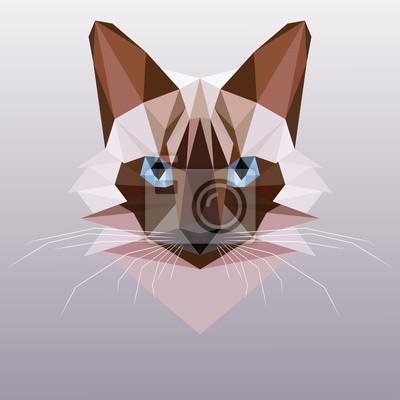 Постер-картина Полигональный арт Вектор кошка в стиле полигон. Сиамская кошка головаПолигональный арт<br>Постер на холсте или бумаге. Любого нужного вам размера. В раме или без. Подвес в комплекте. Трехслойная надежная упаковка. Доставим в любую точку России. Вам осталось только повесить картину на стену!<br>