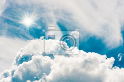 Постер-картина На потолок Облака в голубое небо и солнце, естественный фонНа потолок<br>Постер на холсте или бумаге. Любого нужного вам размера. В раме или без. Подвес в комплекте. Трехслойная надежная упаковка. Доставим в любую точку России. Вам осталось только повесить картину на стену!<br>
