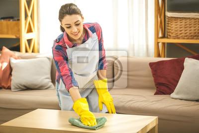 Женщина в защитных перчатках улыбаясь и вытирая пыль с использованием Spray и тряпкой во время уборки своего дома, крупным планом, 30x20 см, на бумагеКлининг<br>Постер на холсте или бумаге. Любого нужного вам размера. В раме или без. Подвес в комплекте. Трехслойная надежная упаковка. Доставим в любую точку России. Вам осталось только повесить картину на стену!<br>