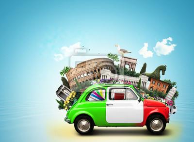 Италия, достопримечательности Италии и итальянского ретро автомобилей, 27x20 см, на бумагеТурфирма<br>Постер на холсте или бумаге. Любого нужного вам размера. В раме или без. Подвес в комплекте. Трехслойная надежная упаковка. Доставим в любую точку России. Вам осталось только повесить картину на стену!<br>