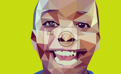 Постер-картина Полигональный арт Абстрактные Иллюстрация, Мальчик Лоу Поли Портрет.Полигональный арт<br>Постер на холсте или бумаге. Любого нужного вам размера. В раме или без. Подвес в комплекте. Трехслойная надежная упаковка. Доставим в любую точку России. Вам осталось только повесить картину на стену!<br>