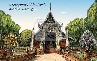 Эскиз пейзаж показать стиль Азии храм места в Таиланде, векторные иллюстрации, 32x20 см, на бумагеБангкок<br>Постер на холсте или бумаге. Любого нужного вам размера. В раме или без. Подвес в комплекте. Трехслойная надежная упаковка. Доставим в любую точку России. Вам осталось только повесить картину на стену!<br>