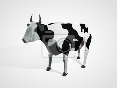 Постер-картина Полигональный арт 3D иллюстрация оригами корова. Многоугольная Геометрическая корова, стоящего в полный рост Гольштейн черный и белый короваПолигональный арт<br>Постер на холсте или бумаге. Любого нужного вам размера. В раме или без. Подвес в комплекте. Трехслойная надежная упаковка. Доставим в любую точку России. Вам осталось только повесить картину на стену!<br>