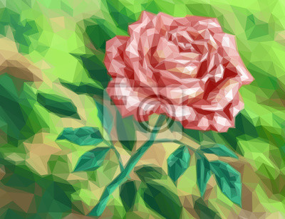 Постер-картина Полигональный арт Красный цветок розы на зеленом фоне, узор низкий Поли. ВекторПолигональный арт<br>Постер на холсте или бумаге. Любого нужного вам размера. В раме или без. Подвес в комплекте. Трехслойная надежная упаковка. Доставим в любую точку России. Вам осталось только повесить картину на стену!<br>