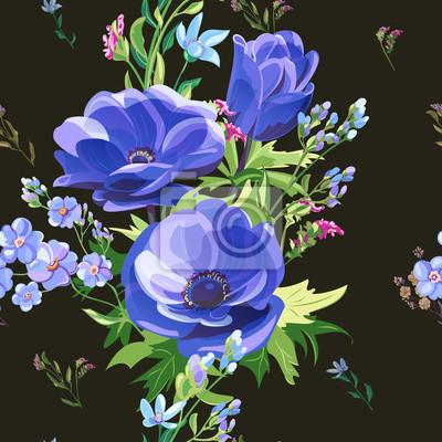 Постер Анемона Квадратные векторные цветочные бесшовные шаблон с голубые цветы, ветреницы, незабудки, стебли и листья на черном фоне, цифровые рисовать, Ботаническая иллюстрация, дизайн поверхностиАнемона<br>Постер на холсте или бумаге. Любого нужного вам размера. В раме или без. Подвес в комплекте. Трехслойная надежная упаковка. Доставим в любую точку России. Вам осталось только повесить картину на стену!<br>
