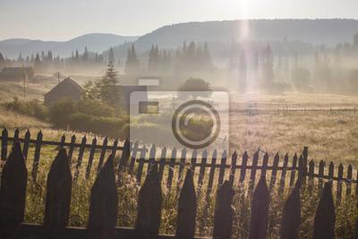 Постер Туман Утренняя роса туман солнечные лучи в горахТуман<br>Постер на холсте или бумаге. Любого нужного вам размера. В раме или без. Подвес в комплекте. Трехслойная надежная упаковка. Доставим в любую точку России. Вам осталось только повесить картину на стену!<br>