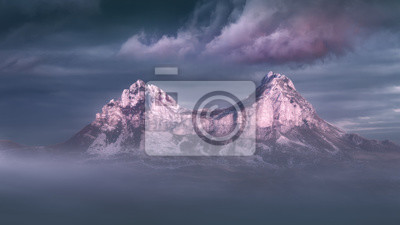 Постер Туман Идиллический горный пейзаж в туманный закатТуман<br>Постер на холсте или бумаге. Любого нужного вам размера. В раме или без. Подвес в комплекте. Трехслойная надежная упаковка. Доставим в любую точку России. Вам осталось только повесить картину на стену!<br>