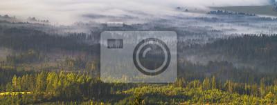 Постер Туман Утром туман, превращаясь в горной долине в татрах в Словакии,панорамаТуман<br>Постер на холсте или бумаге. Любого нужного вам размера. В раме или без. Подвес в комплекте. Трехслойная надежная упаковка. Доставим в любую точку России. Вам осталось только повесить картину на стену!<br>