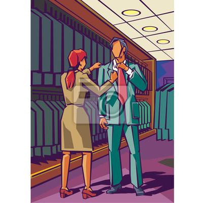 Постер Оформление офиса Человек примеряет костюм, как продавец помогает выпрямить куртку., 20x20 см, на бумагеПримерочная<br>Постер на холсте или бумаге. Любого нужного вам размера. В раме или без. Подвес в комплекте. Трехслойная надежная упаковка. Доставим в любую точку России. Вам осталось только повесить картину на стену!<br>