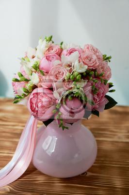 Букет невесты из нежно-розовых пионов и белых роз . Свадебная флористика. Классическая форма, 20x30 см, на бумагеПионы<br>Постер на холсте или бумаге. Любого нужного вам размера. В раме или без. Подвес в комплекте. Трехслойная надежная упаковка. Доставим в любую точку России. Вам осталось только повесить картину на стену!<br>